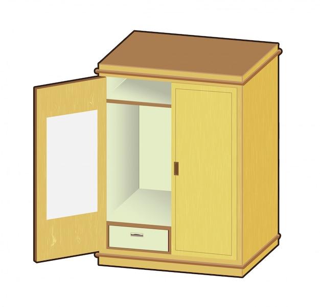 Ilustración de armario abierto