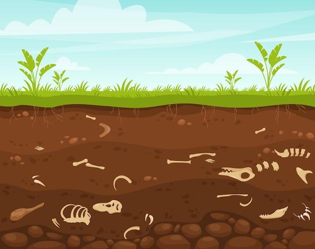 Ilustración de arqueología y paleontología superficie subterránea con huesos de dinosaurio
