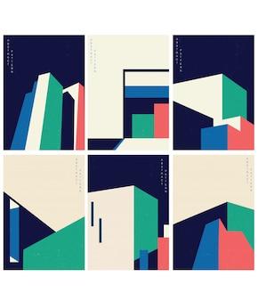 Ilustración de arquitectura abstracta con estilo geométrico con edificio moderno