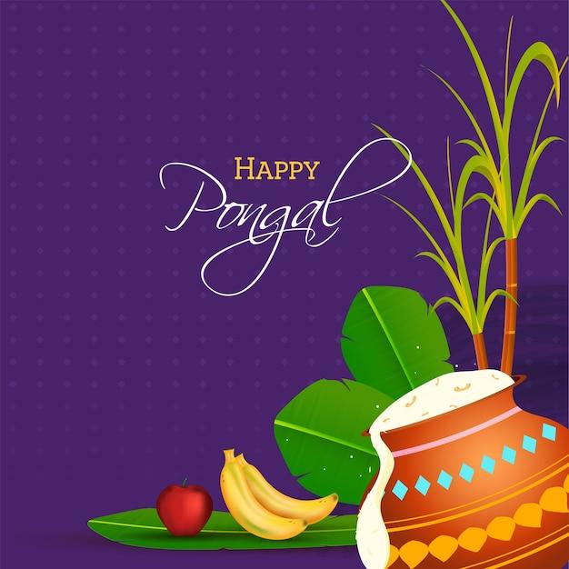 Ilustración de arroz pongali en olla de barro con hojas de plátano