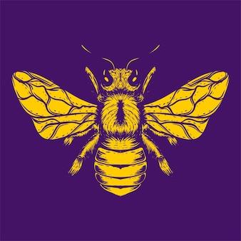 Ilustración de arte de abeja de cuerpo completo