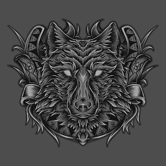 Ilustración de arte y adorno de grabado de lobo de camiseta