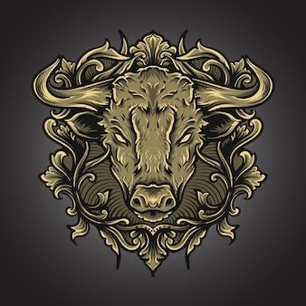 Ilustración de arte y adorno de grabado de toro de camiseta