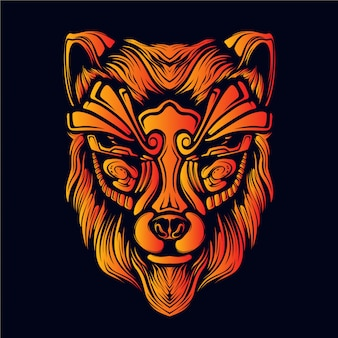 Ilustración de arte de cabeza de lobo
