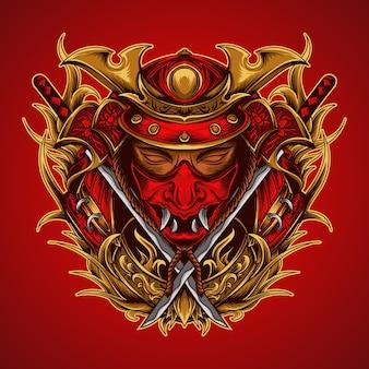 Ilustración de arte y camiseta samurai y adorno de grabado katana