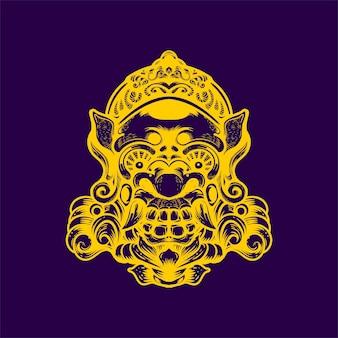 Ilustración de arte de cara de barong