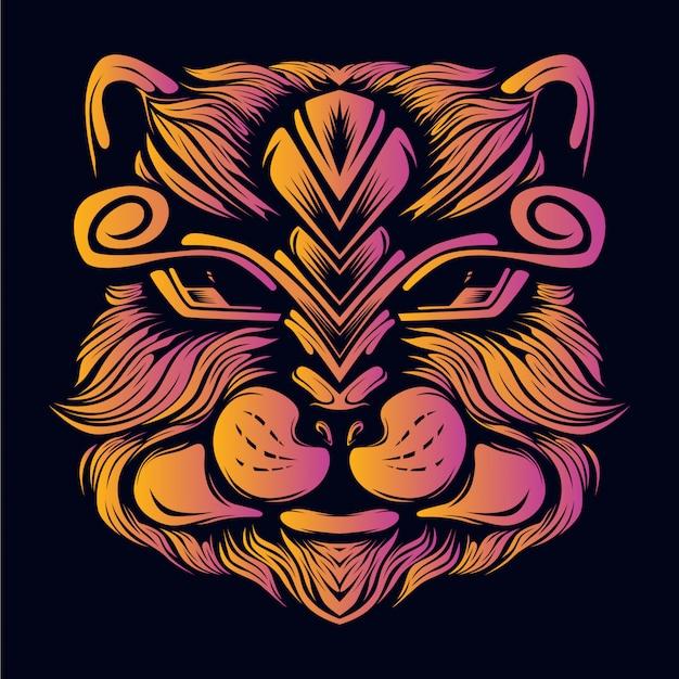 Ilustración de arte de cara de gato peludo
