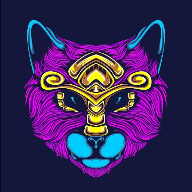 Ilustración de arte de cara de gato