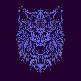 Ilustración de arte de cara de lobo ornamental