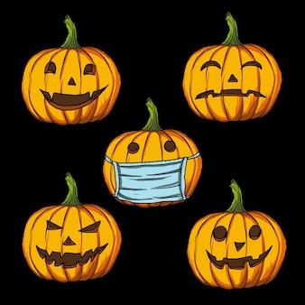 Ilustración de arte conjunto de paquete de expresión facial de calabaza de halloween