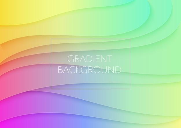 Ilustración de arte cuted de papel de color degradado volumétrico abstracto. diseño de vectores para carteles, presentaciones de negocios, folletos.