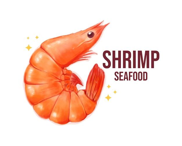 Ilustración de arte de dibujos animados dibujados a mano de acuarela de camarones mariscos banner logo