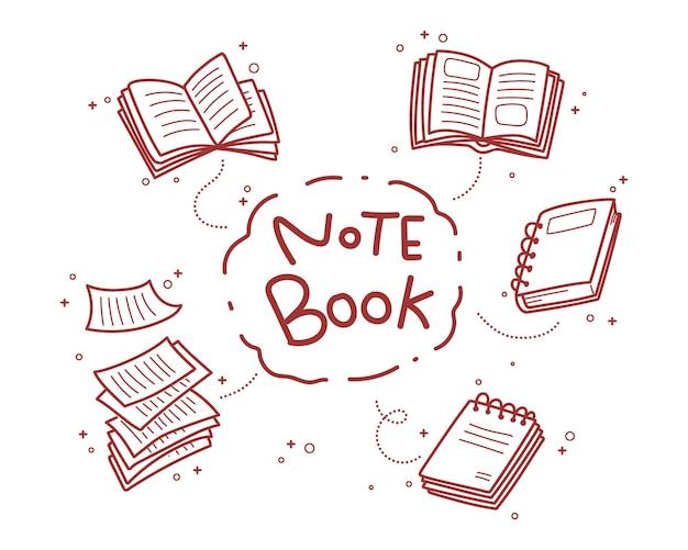 Ilustración de arte de dibujos animados dibujados a mano doodle de cuaderno