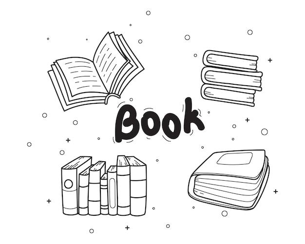 Ilustración de arte de dibujos animados dibujados a mano de doodle de libro