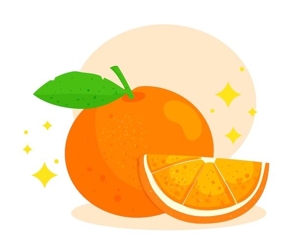 Ilustración de arte de dibujos animados de dibujos animados de logotipo de fruta naranja