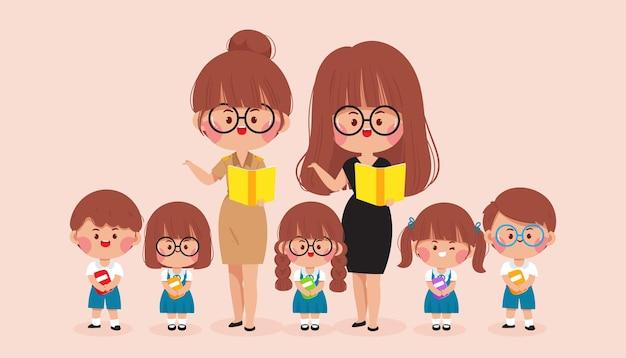 Ilustración de arte de dibujos animados feliz maestro y niños escuela