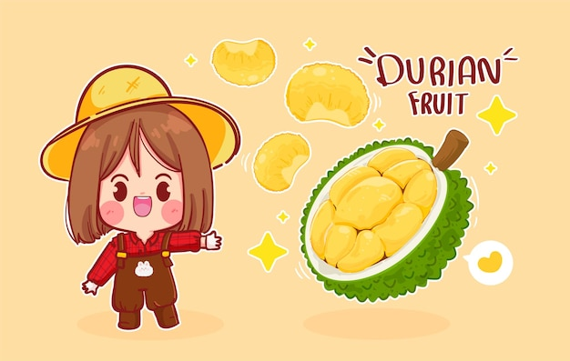 Ilustración de arte de dibujos animados de linda chica granjero y fruta durian