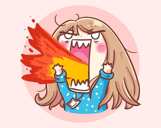 Ilustración de arte de dibujos animados de niña enojada vector premium