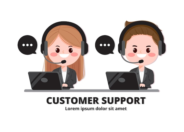 Ilustración de arte de dibujos animados de servicio al cliente y centro de llamadas