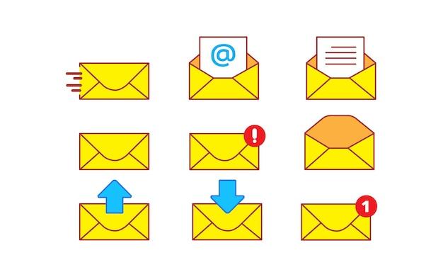 Ilustración de arte de dibujos animados de vector conjunto de iconos de correo amarillo sobre