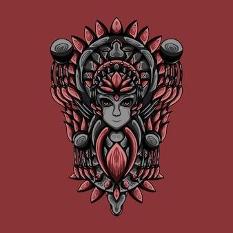 Ilustración de arte de dios de las mujeres con vector de grabado