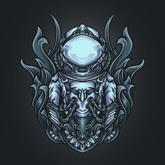 Ilustración de arte y diseño de camiseta ornamento de grabado de astronauta