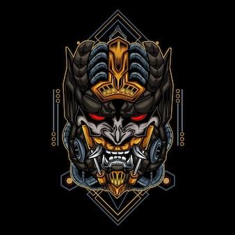 Ilustración de arte y diseño de camiseta vector de cráneo robótico