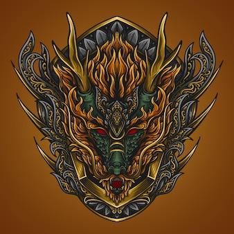 Ilustración de arte dragón grabado ornamento