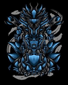 Ilustración de arte de dragon warrior vector