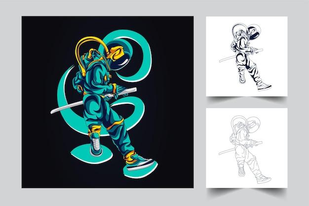 Ilustración de arte de espada de astronauta