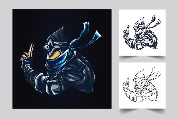 Ilustración de arte de esport de guerra ninja