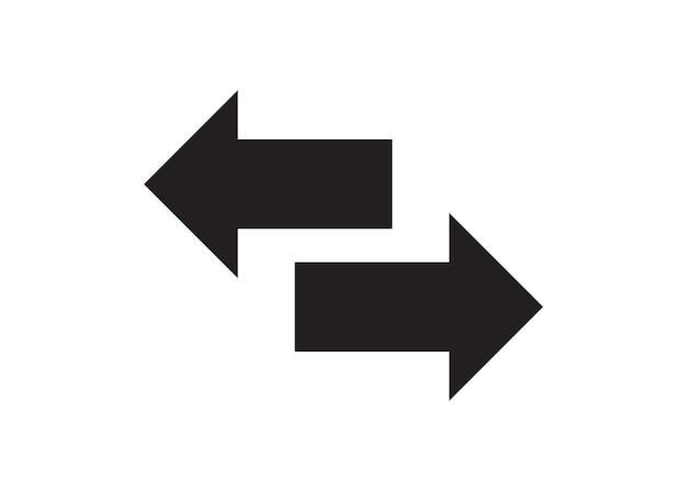 Ilustración de arte de flecha negra bidireccional