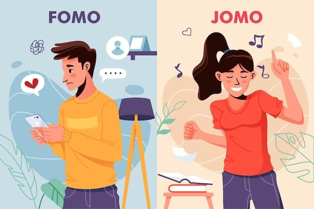 Ilustración arte fomo vs jomo