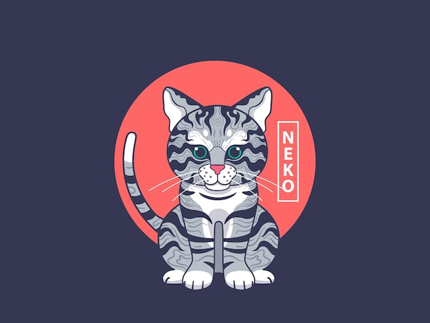 Ilustración de arte de gato con estilo japonés