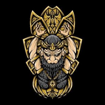 Ilustración de arte de gatot kaca con vector de grabado