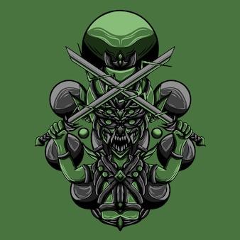 Ilustración de arte de goblin slayer vector