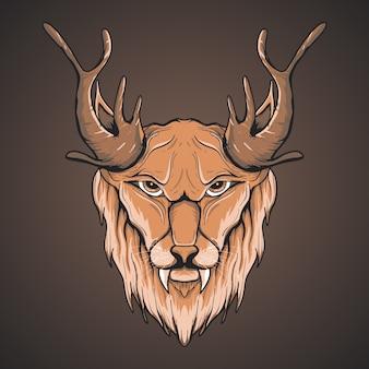 Ilustración de arte de león mítico