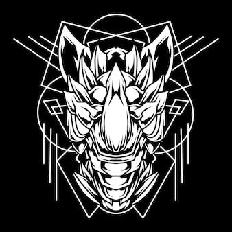 Ilustración de arte de línea abstracta de rinoceronte