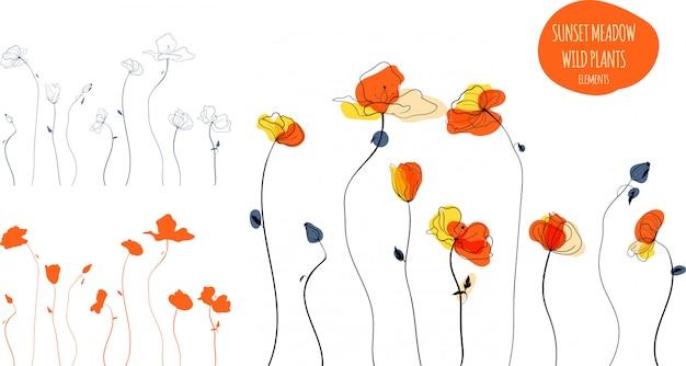 Ilustración de arte de línea de campo de amapolas amarillas en estilo escandinavo