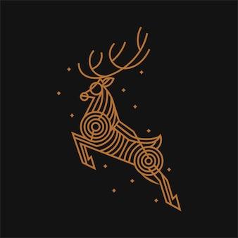 Ilustración de arte de línea de los ciervos de salto