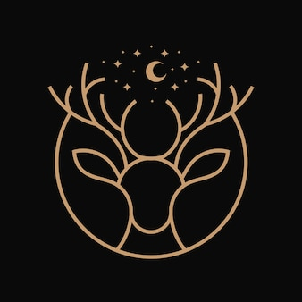 Ilustración de arte de línea de ciervos