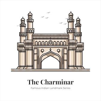 Ilustración de arte de línea de dibujos animados emblemático famoso indio charminar