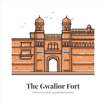 Ilustración de arte de línea de dibujos animados de punto de referencia icónico famoso indio de gwalior fort