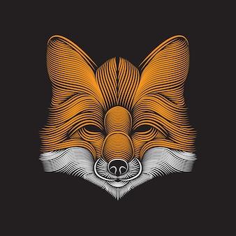 Ilustración de arte de línea de fox