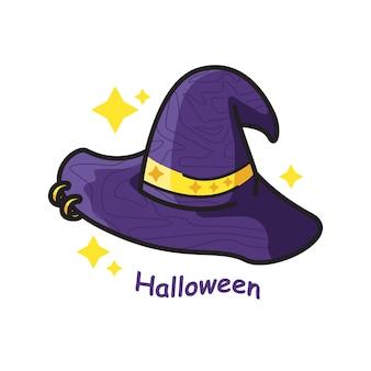 Ilustración de arte de línea linda de halloween sombrero de bruja Vector Premium
