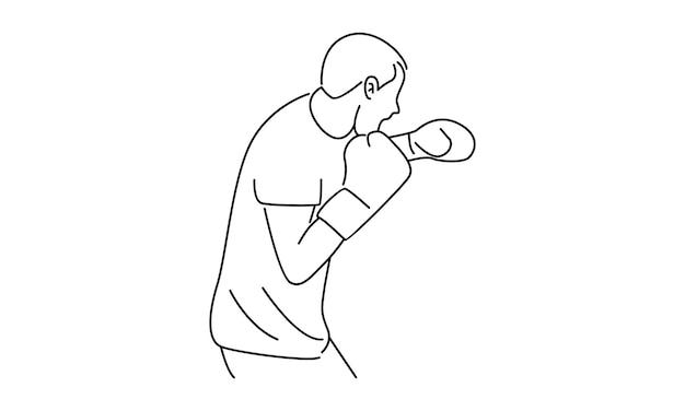 Ilustración de arte de línea de lucha de hombre boxeador