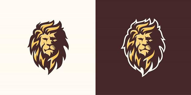 Ilustración de arte de línea de plantilla de logotipo de león