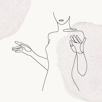 Ilustración de arte de línea de vector de la parte superior del cuerpo de la mujer sobre fondo gris de acuarela en colores pastel