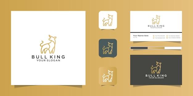 Ilustración de arte lineal de diseños de lujo del logotipo del toro y tarjeta de visita