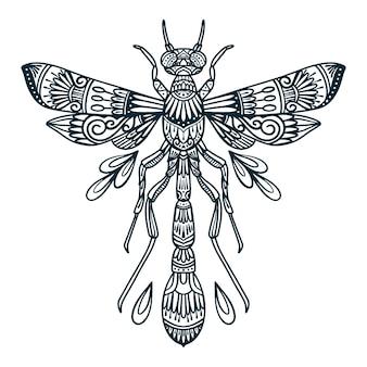 Ilustración de arte lineal de escarabajo libélula